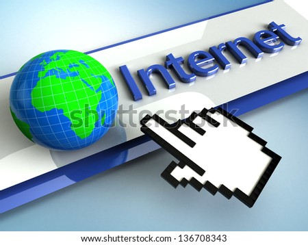 3d illustration hand cursor points to the global Internet
