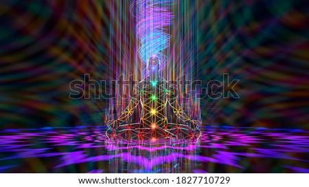 3D illustration. harmony of demiurge meditation