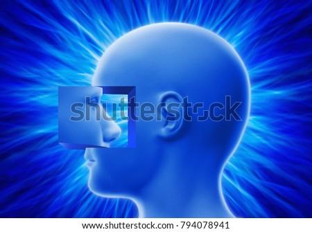 3d illustration, head and mind