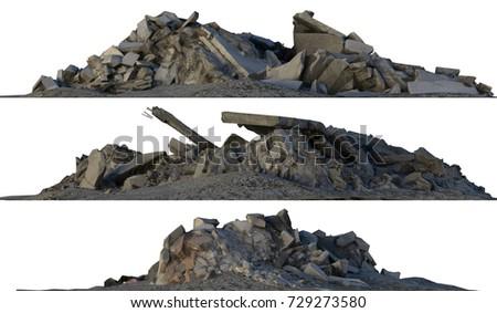 3d illustration heaps of rubble ...
