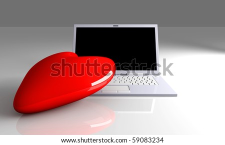 3D Illustration. Heart and a Laptop.