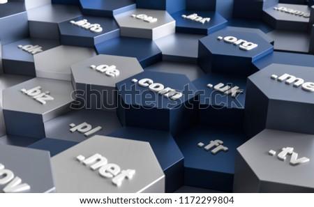 3D illustration hexagon domains Photo stock ©
