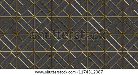 3d illustration. Holiday background. 3D render lattice gold.3 d illustration. Volume renature with gold cells on a black relief background.Render. 3d texture of a wall.An abstract background.