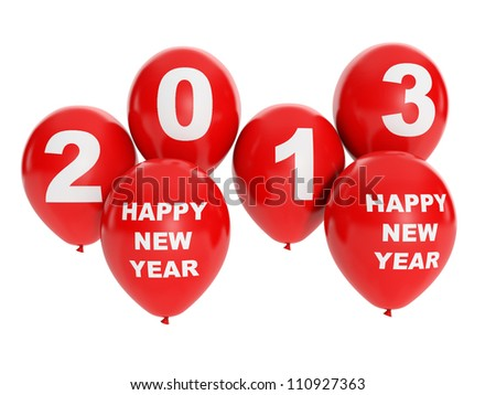 3d illustration: Holidays and events. Group of balloons, happy new year 2013