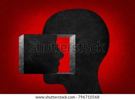 3d illustration.  Human head looking inward