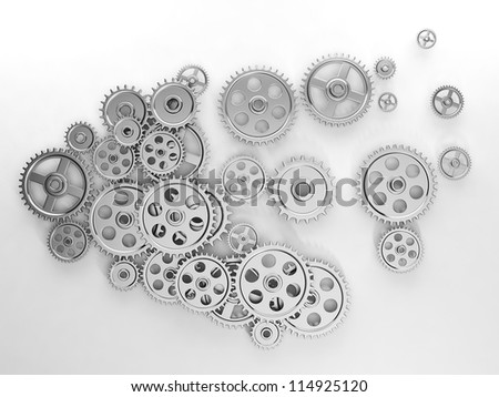 3d illustration: Ideas, a group of gears in the form of the brain, the work of ideas