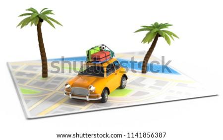 3D illustration illustration illustration Car on map Travel