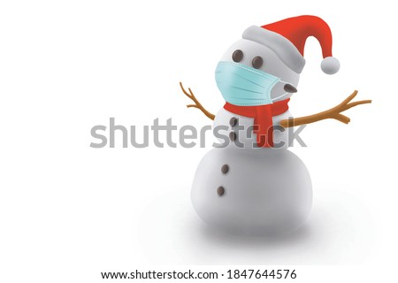 3D illustration image of snowman wearing medical mask in coronavirus pandemic in christmas festival holiday, on white background