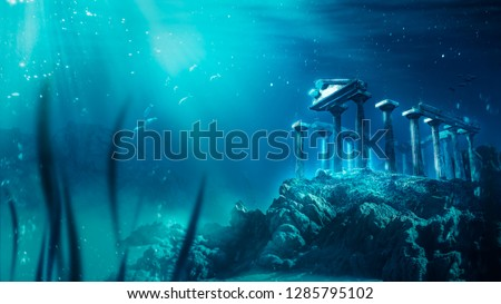3D illustration inspired by the legend of the lost city of Atlantis, underwater city, rendering