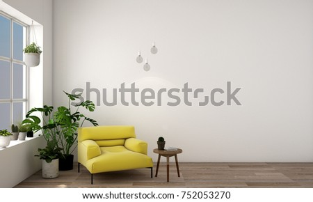 3d illustration,interior design for Living area in modern style with armchair sofa, side table,plant on wood floor and white concrete wall  and window views with relaxing natural forest