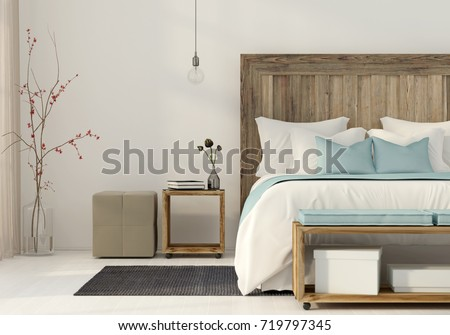 3D illustration. Interior of the bedroom in a minimalist style with wooden furniture