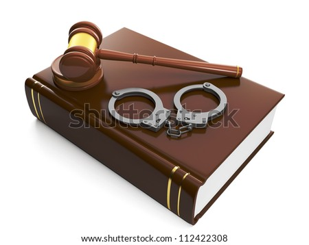 3d illustration: Legal assistance. Judicial gavel and law book, handcuffs