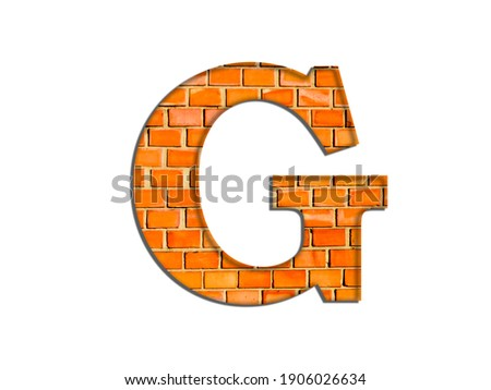 3D illustration, Letter G, brick structure, alphabet, font, architecture pattern, cement  stone material texture, isolated on white, design element, brown  typographic Stock fotó ©