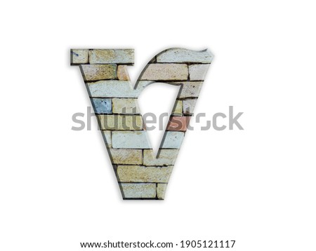 3D illustration,Letter V, brick structure, alphabet, font, architecture pattern, cement  stone material texture, isolated on white, design element , , typographic Photo stock ©
