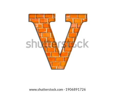 3D illustration, Letter V, brick structure, alphabet, font, architecture pattern, cement  stone material texture, isolated on white, design element, brown  typographic Photo stock ©