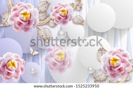 3d illustration, light background, white balls, abstract pink ceramic flowers on golden stems with crystals