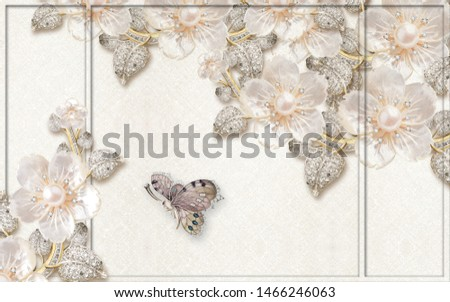 3d illustration, light fabric background, rectangular frame, light fabulous flowers with pearls and crystals, large dark butterfly