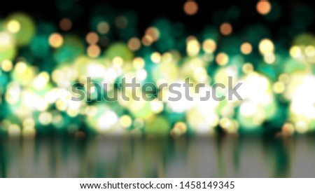3d illustration, Light green and yellow circles with blurry, blurry colours. Bokeh lights