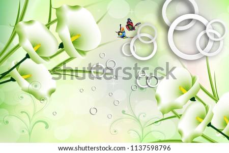 3D illustration, light green background, white rings, calla flowers, butterflies