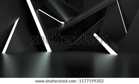 3D Illustration Light Show Room Studio 3