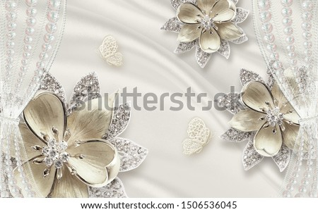 3d illustration, light silk background, curtains, butterflies, large abstract flowers with crystals