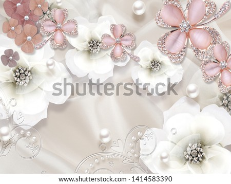 3d illustration, light silk background, white and pink flower buds with crystals, white pearls