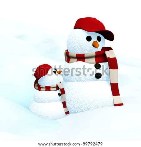 3D Illustration, little snowman is looking up to big snowman