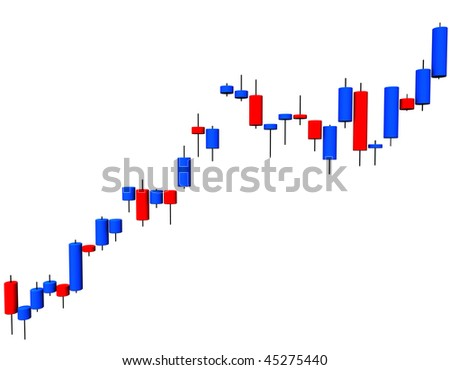 3d illustration looks a candlestick chart on the white background.