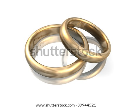 3d illustration looks golden wedding bands on white background.