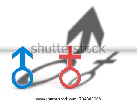 3d illustration. Male and female Gender sign with Male shadow is higher than female. Gender pay gap concept.
