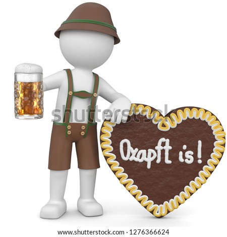 3D illustration Male with beer and gingerbread heart
