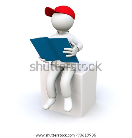 3D Illustration, man reading a book