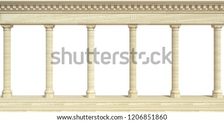 3d illustration. Marble antique wall arcade. Background banner. Poster. The architecture of the ancient world.