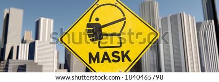 3D illustration, Mask sign in the city Stock fotó ©