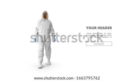 3d illustration. Medic in white hazmat protective suits. Chinese new Wuhan coronavirus illustration. Biological hazard. Epidemic of coronavirus. 3d model. man. doctor. figure. web design. banner.