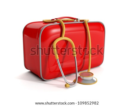 3d illustration: medical kit on a white background