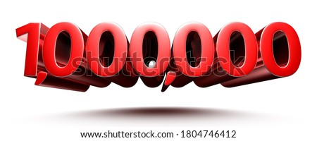 3D illustration 1 million red isolated on a white background.(with Clipping Path). Stock fotó ©