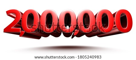 3D illustration 2 million red isolated on a white background.(with Clipping Path). Stock fotó ©