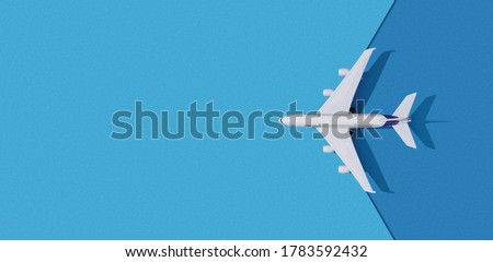 3D illustration Miniature toy airplane on colorful paper background. Flat lay design of travel concept with plane on blue sky with copy space.