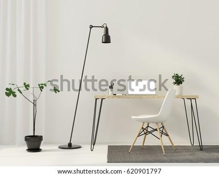 3D illustration. Minimalistic interior  of workplace