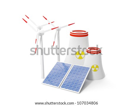 3d illustration: Mining enegrii, windy windmill and solar panels. Isolated image