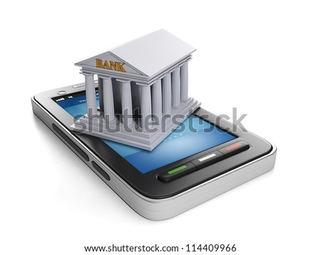 3d illustration: Mobile technology. Mobile banking, mobile phone and bank building