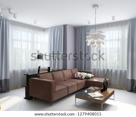 3D illustration modern apartment with large window and white wall; living room; 3d rendering; 300 dpi