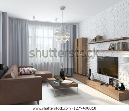 3D illustration modern apartment with large window and white wall; living room; 3d rendering; 300 dpi #1279408018
