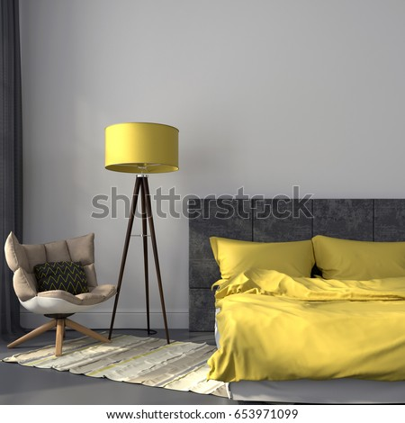 3D illustration. Modern bedroom in gray color and accents on yellow lamp and bedclothes