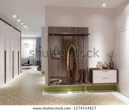 3D illustration modern hallway in apartment; living room; 3d rendering; 300 dpi