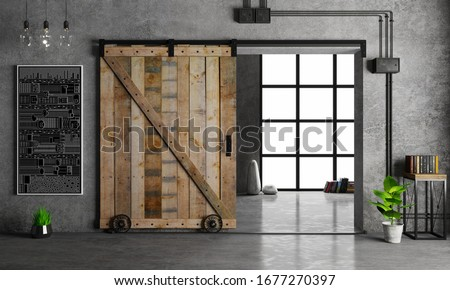 3d illustration. Modern interior in loft style barn sliding wooden door in loft room. Studio