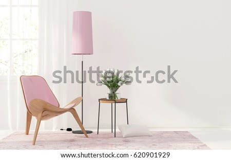 3D illustration. Modern interior with a light pink armchair and floor lamp