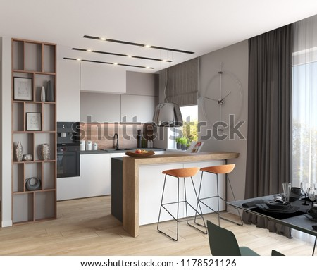 3d illustration; Modern kitchen with white cupboards; chalk board; 3d illustration; 3d rendering; 300 dpi