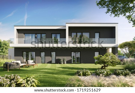 3D illustration modern luxrury township townhouses with garden; 300 dpi Сток-фото ©